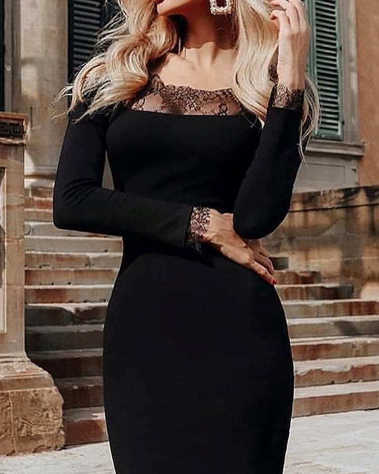 Off Shoulder Lace Splicing Bodycon Dress