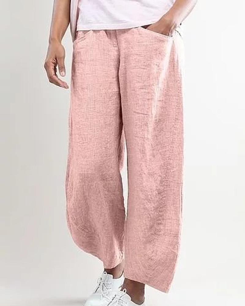 Solid Pocket Loose Long Pants