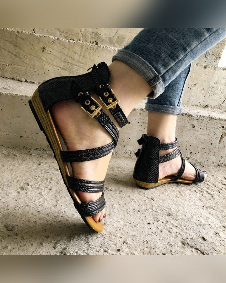 Solid Strappy Boho Flat Sandals