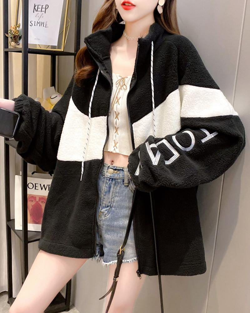 Embroidery Color Block Long Sleeve Coat