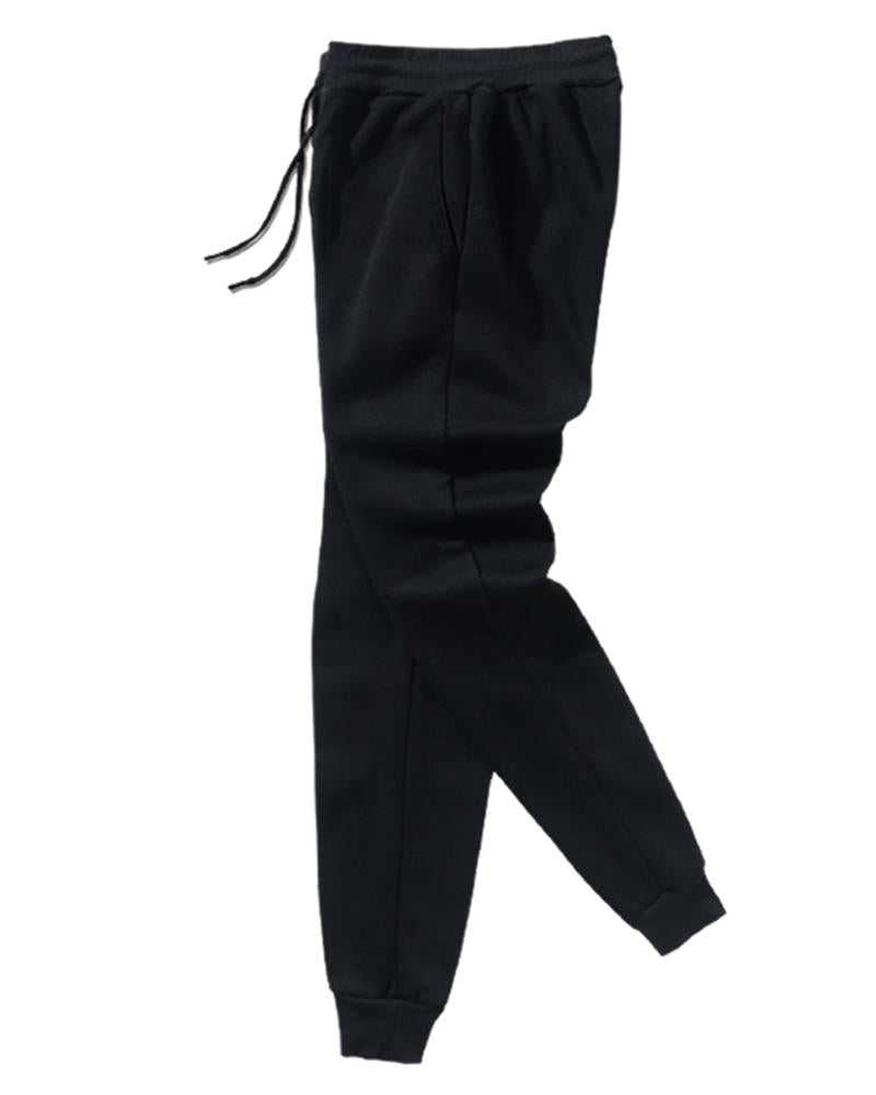 Solid Drawstring Slim Feet Pants