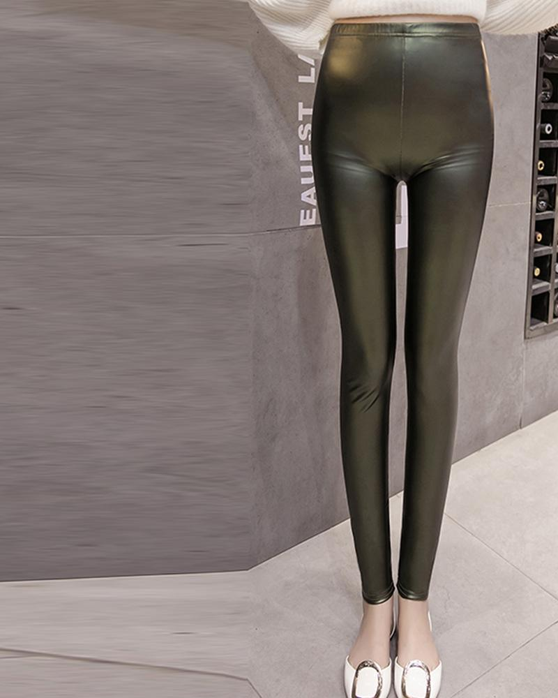 Solid Skinny High Elastic Pencil PU Pants
