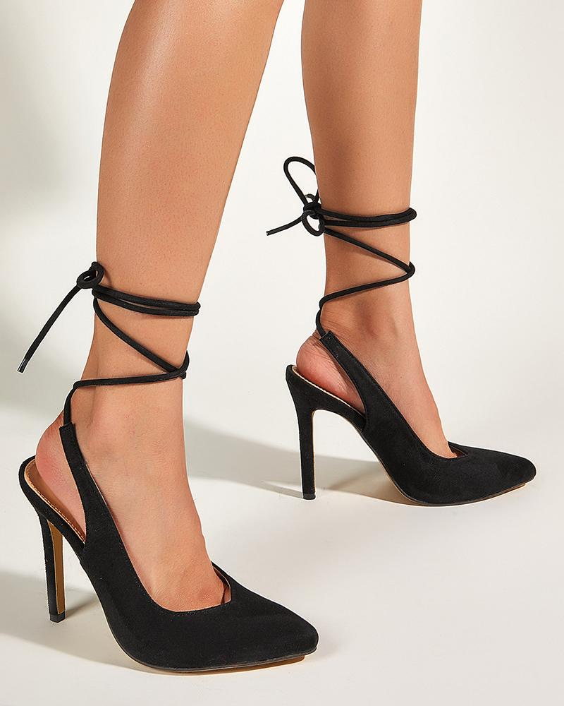 Solid Pointed Toe Bandgaes High Heel Sandals