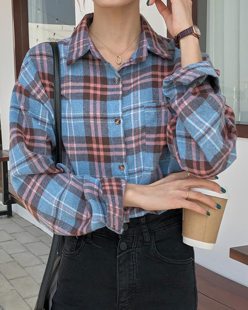 Plaid Button-Up Shirt