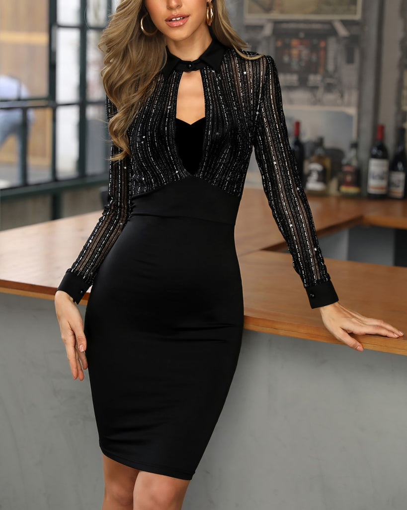 Glitter Mesh Insert Cutout Bodycon Dress