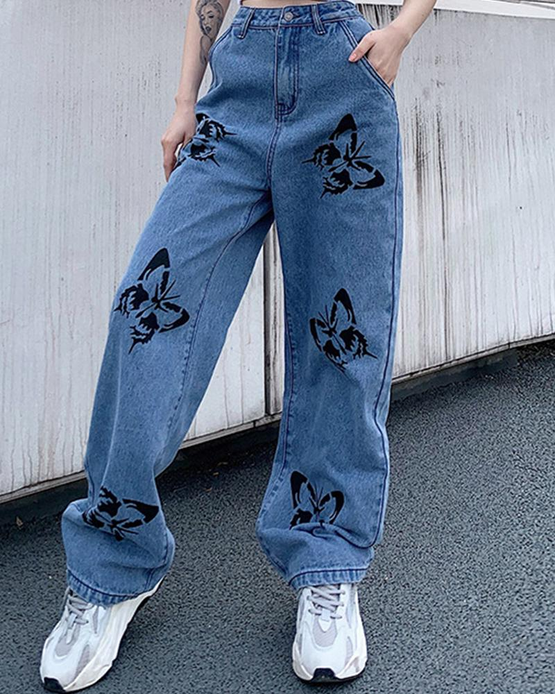 Butterfly Print Loose Denim Pants