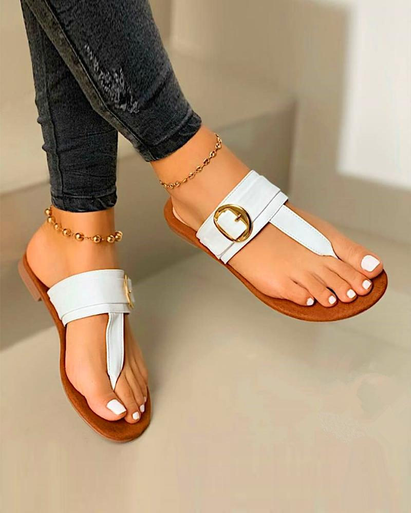 Buckle Detail Thong Sandals