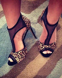 T-strap Open Toe Cheetos Print High Heels Sandals