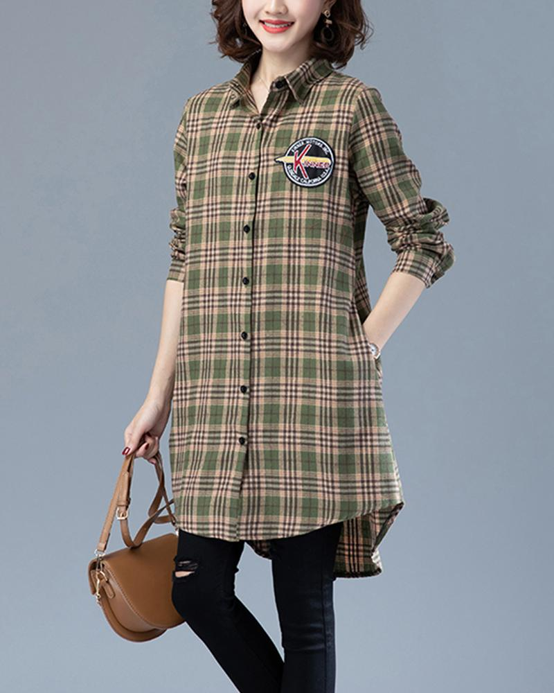 Casual Plaid long sleeve Blouse