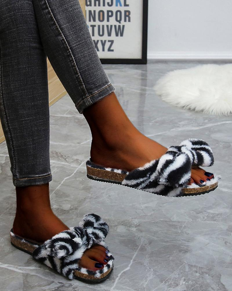Round-toe Open Toe Flat Slippers