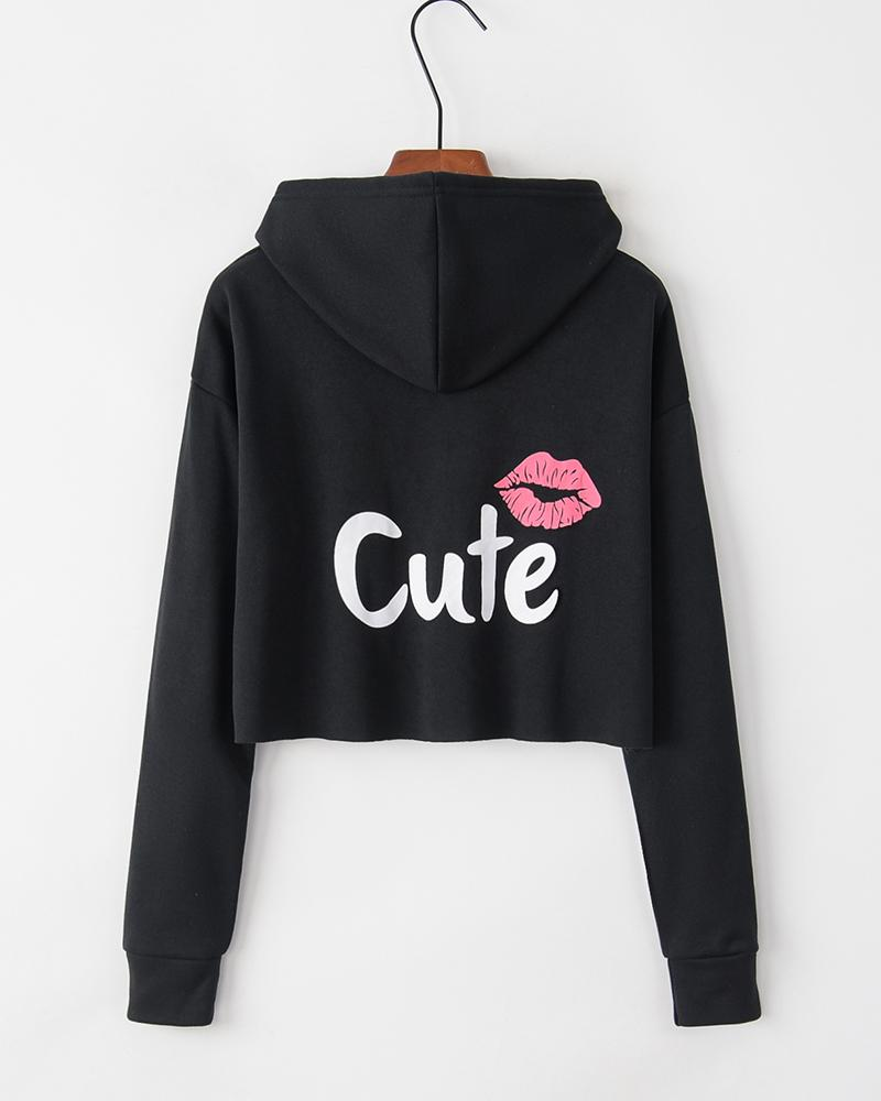 Printing Hooded Long Sleeve Sweatshirt