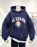 Basketball Team Print Long Sleeve Hooded Thermal Sweatshirt