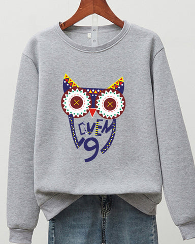 Owl Embroidery Long Sleeve Sweatshirts