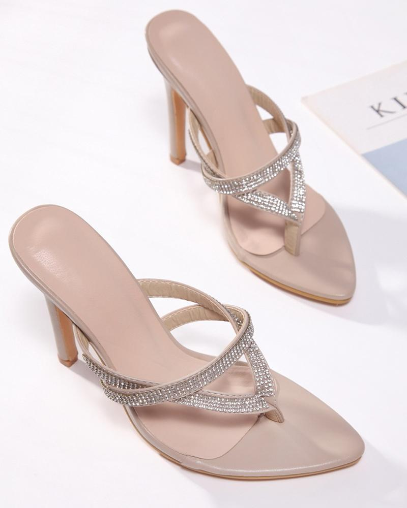 Pointed-toe Solid Color Rhinestone Heel Sandals