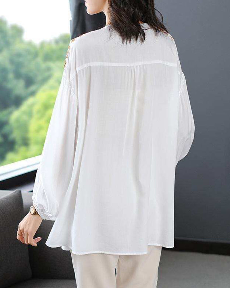 Embroidery Long Sleeve Strappy Blosue