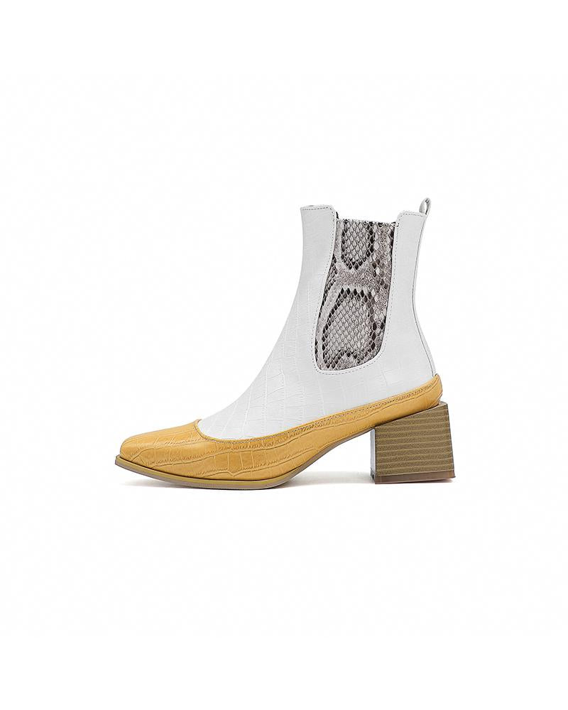 Crocodile Print Pointed-toe Chelsea Boots