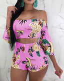 Floral Off Shoulder Flared Sleeve Shirring Set