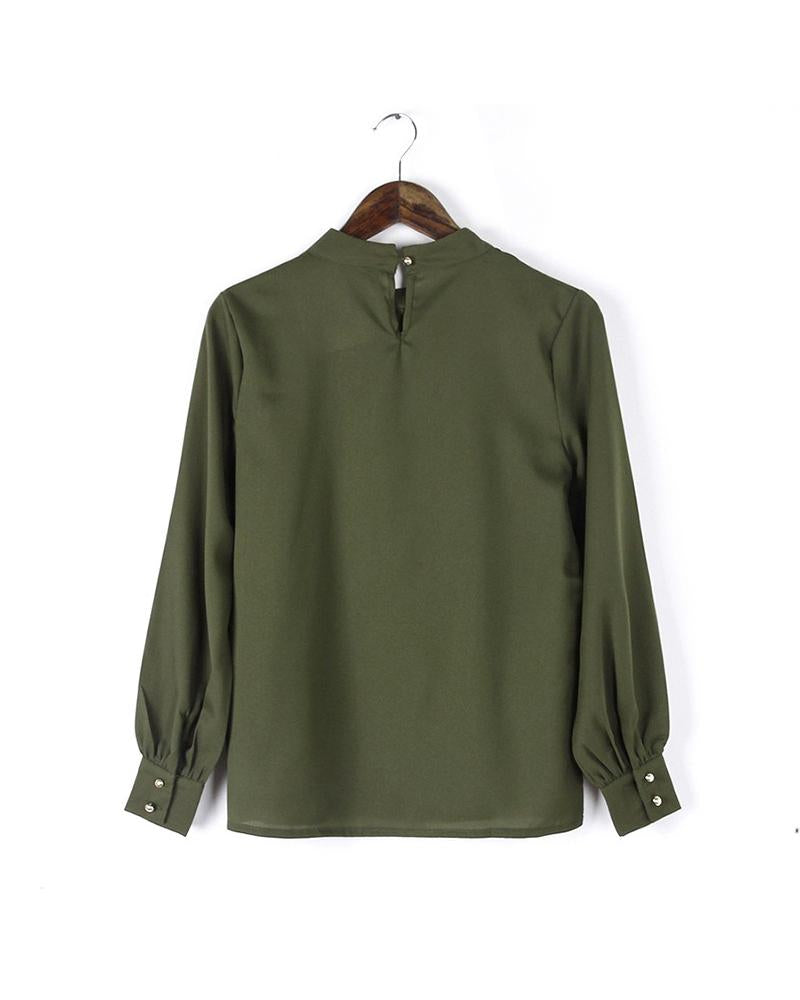 Long Sleeve Blouse In Solid