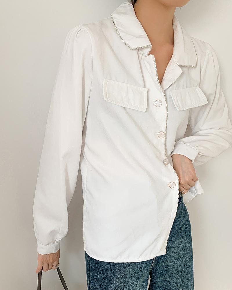 Front Pocket Button Detail Blouse