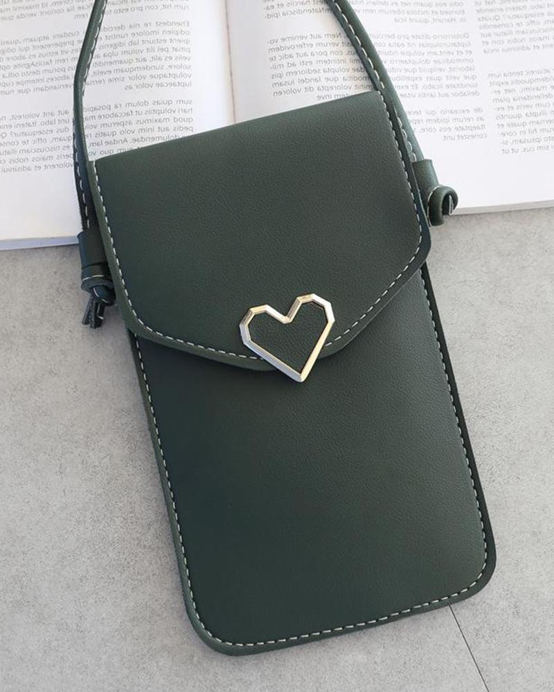 Metal Heart Touch Screen Crossbody Bag
