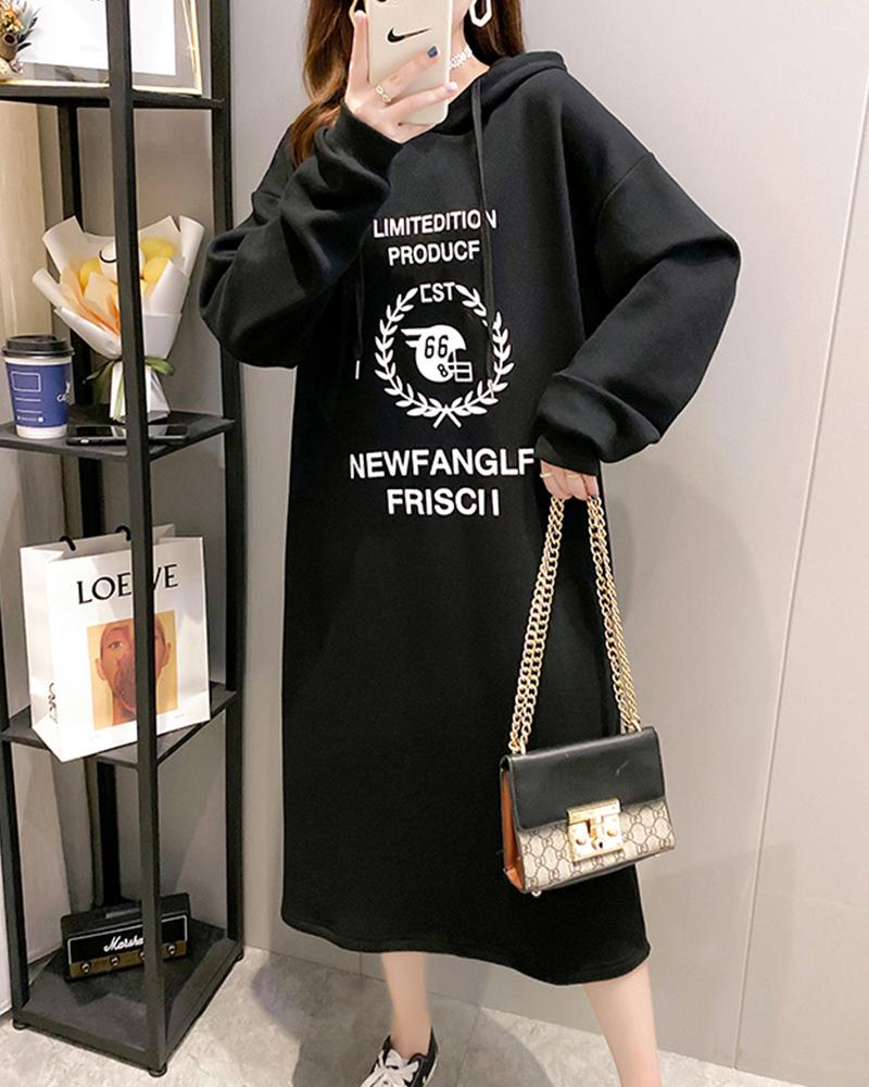Letter Printing Long Sleeve Hooded Loose Sweatshirt