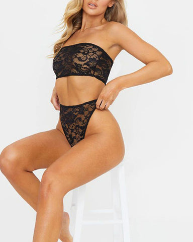 Sexy Lace Off Shoulder Sleeveless Tube Top And Panties Suit Sets