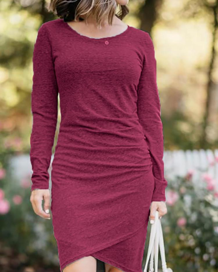 Long Sleeve Ruched Overlap Bodycon Dress