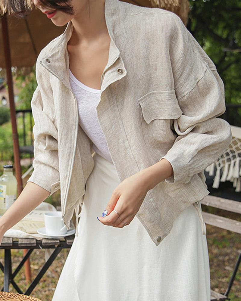 Solid Long Sleeve Jacket With Pocket