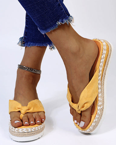 Solid Cross Bandage Upper Open-toe Wedge Shoes Sandals