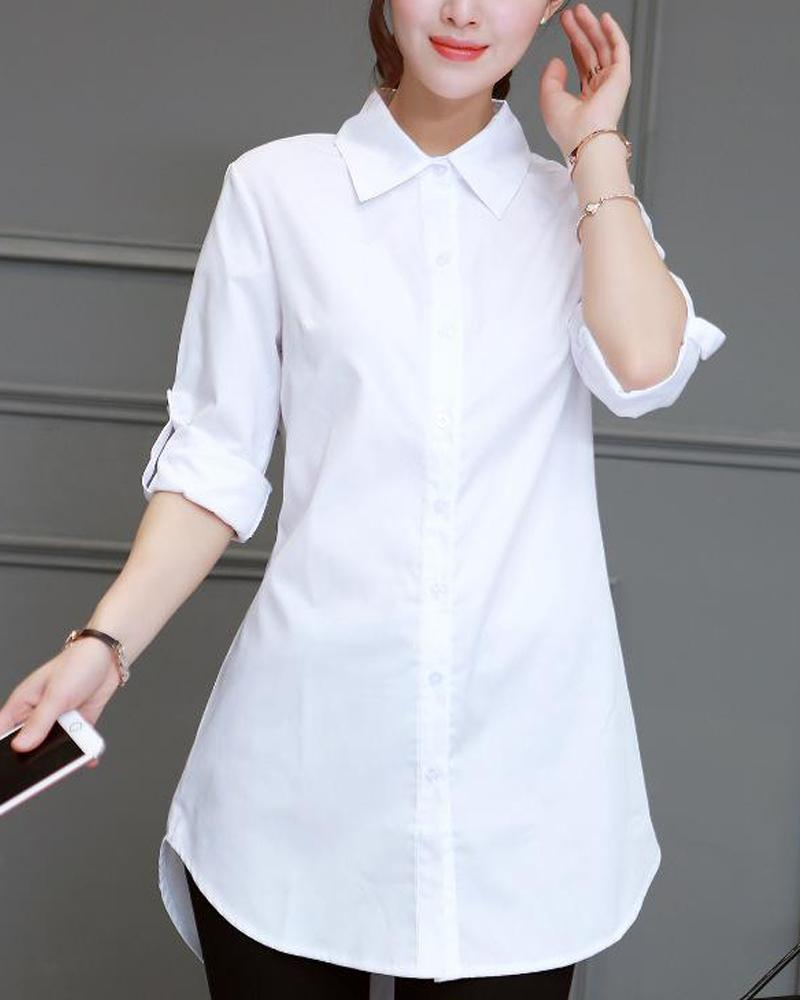 Solid Button Front Tunic Shirt