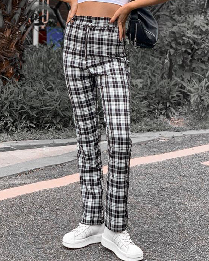 Vintage High Waist Plaid Pants
