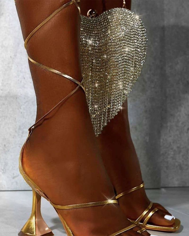 Glitter Strap Open-toe High Heel Sandals