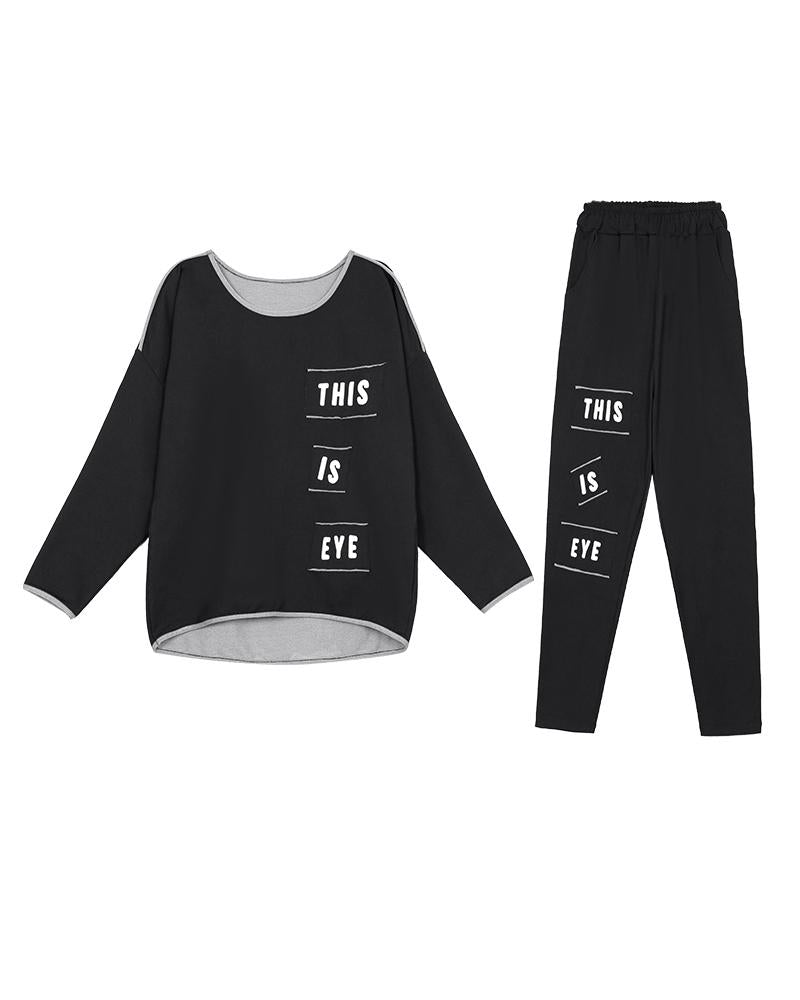 Letter Printing Long Sleeve T-shirt With Pants Suit Sets