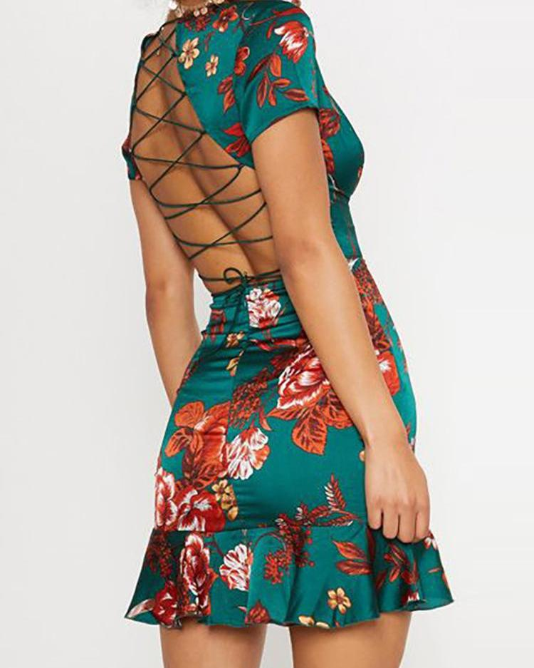 Floral Print Lace-Up Back Flounced Dress