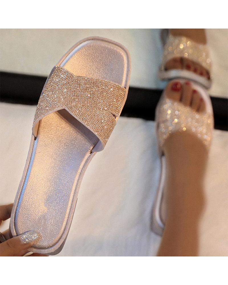 Sequins Peep Toe Flat Sandals