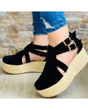 Round-toe Solid Color Suede Leather Cut-out Splicing Double Buckles Platform Sandals