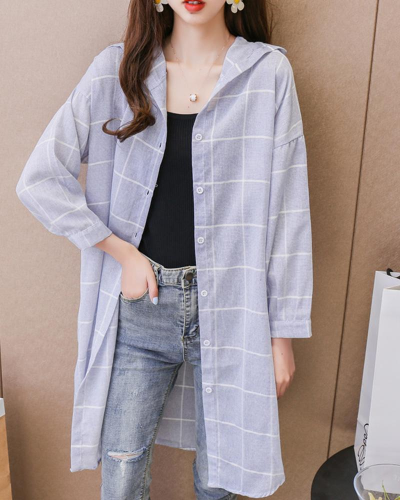 Plaid Long Sleeve Hooded Long Coat