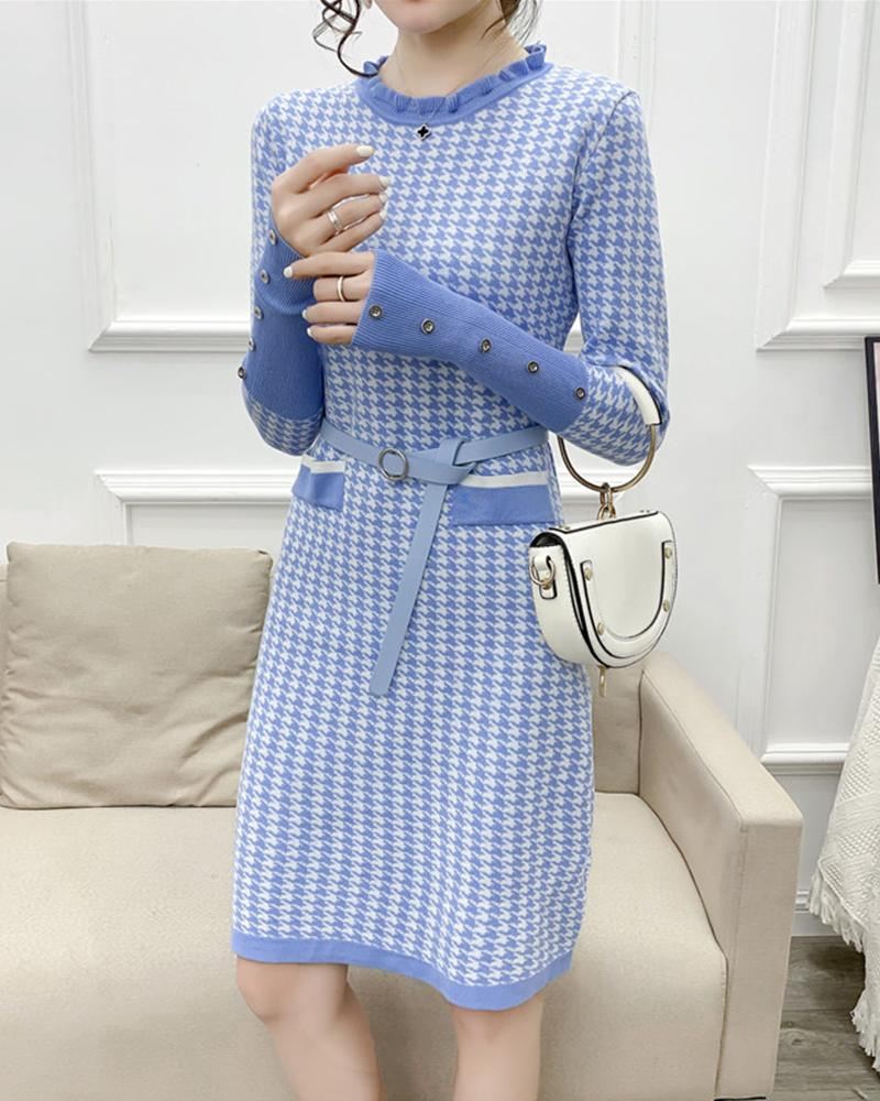 Houndstooth Long Sleeve Sweater Dress