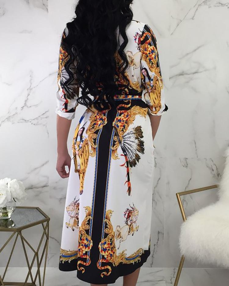 Scarf Print Self Belted Casual Dress
