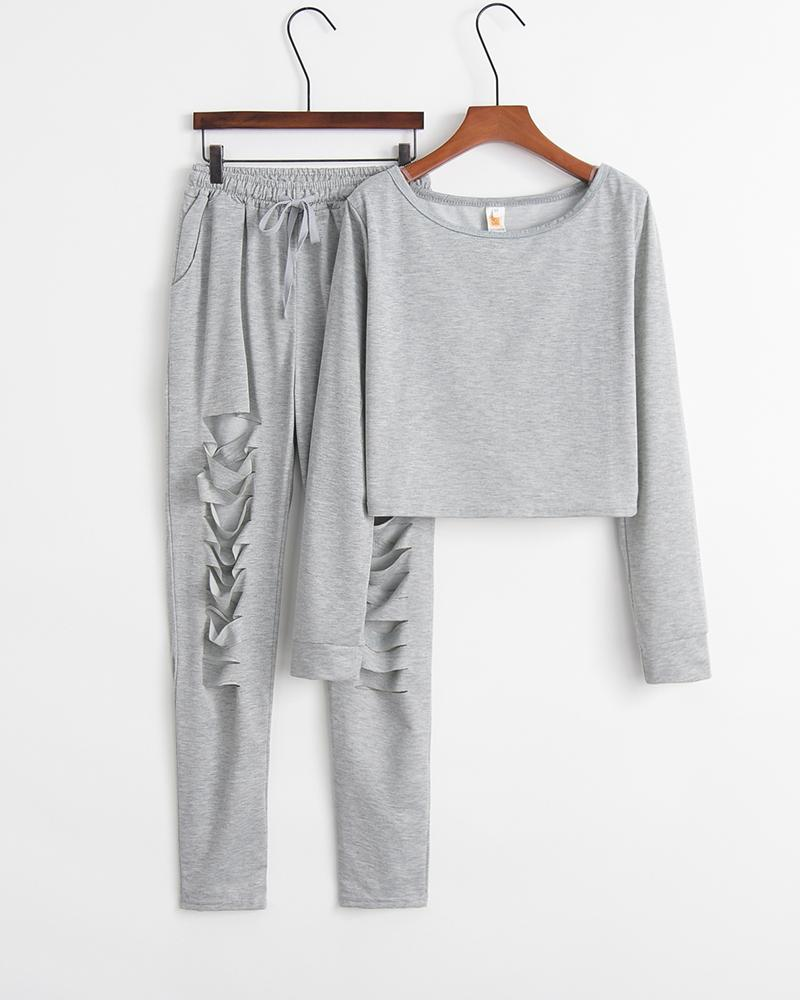 Solid Long Sleeve Loose Sweatshirts Ripped pants Suit Sets