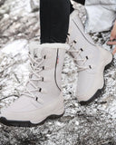 Color Striped Faux Fur Patchwork Lace Up Waterproof Snow Boots