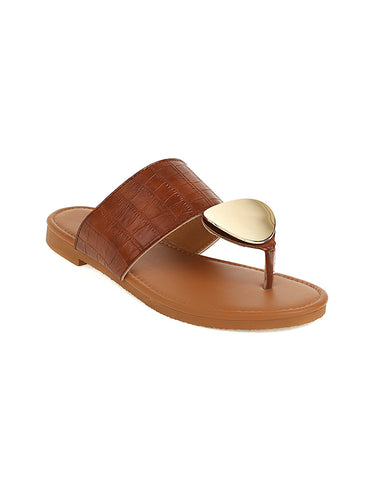 Buckle Patch Post-toe Round-toe Flat Sandals