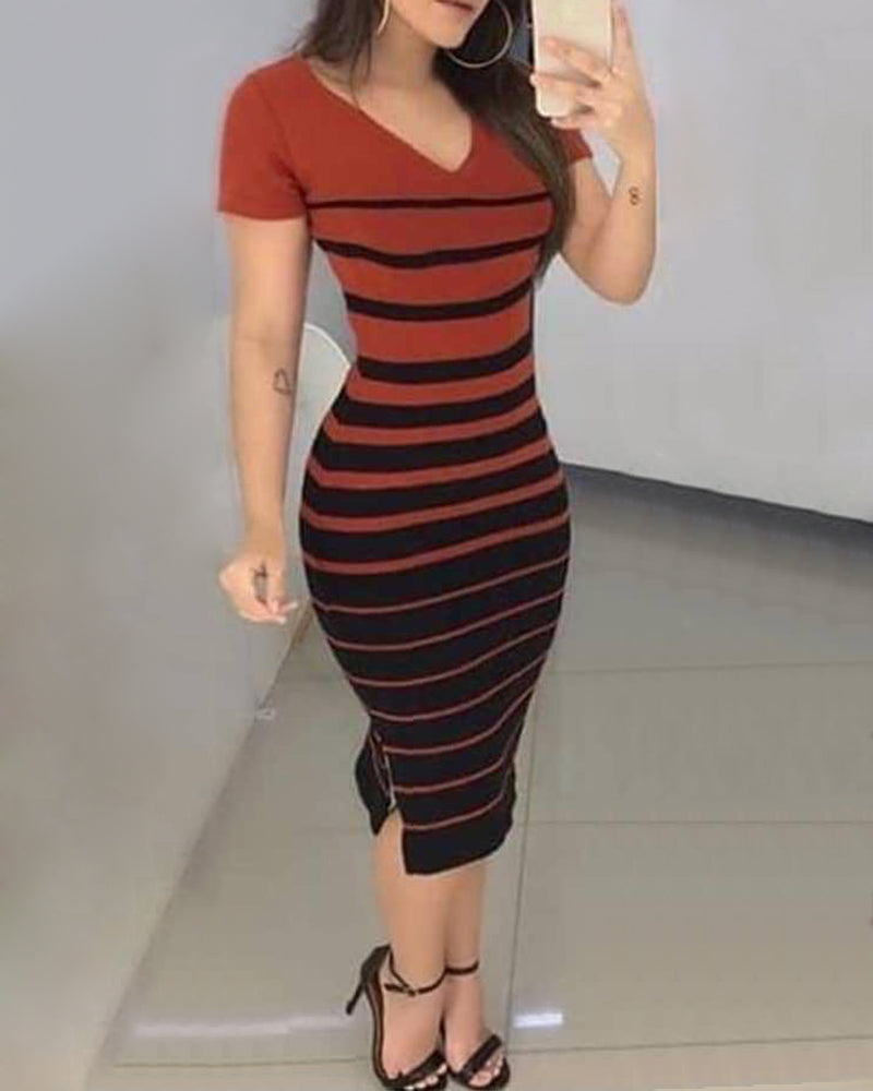 Colorblock Design Striped Side Slit Bodycon Dress