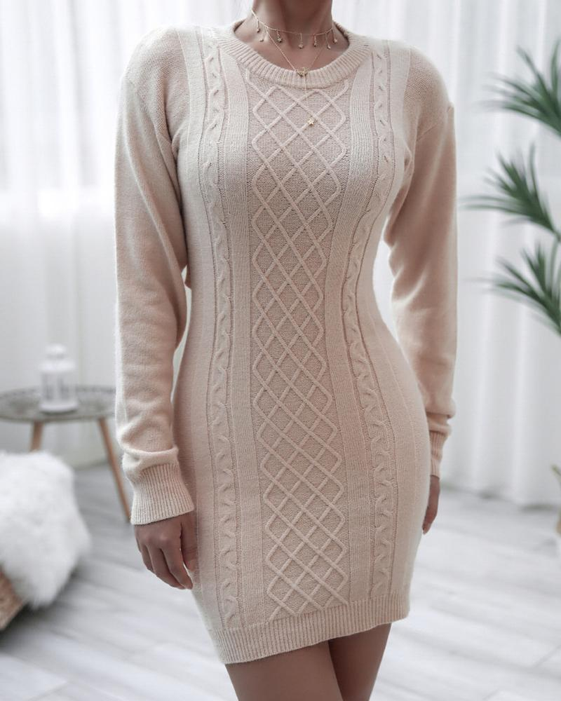 Solid Long Sleeve Skinny Cut-out Bandage Dress