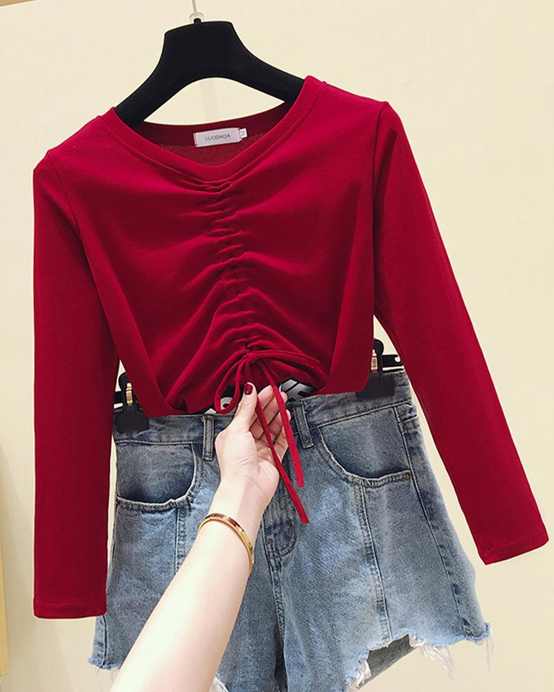 Stitching Letter Printing Long Sleeve Blouse
