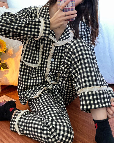 Plaid Long Sleeve PJ Sets