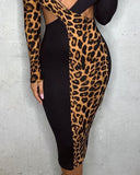 Leopard Patchwork Cut Out Chest Bodycon Dress