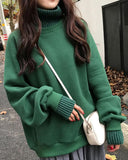 Solid Long Sleeve Warm High Neck Sweatshirts
