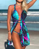 Gradient Color Scale Print Bikini With Cover Up