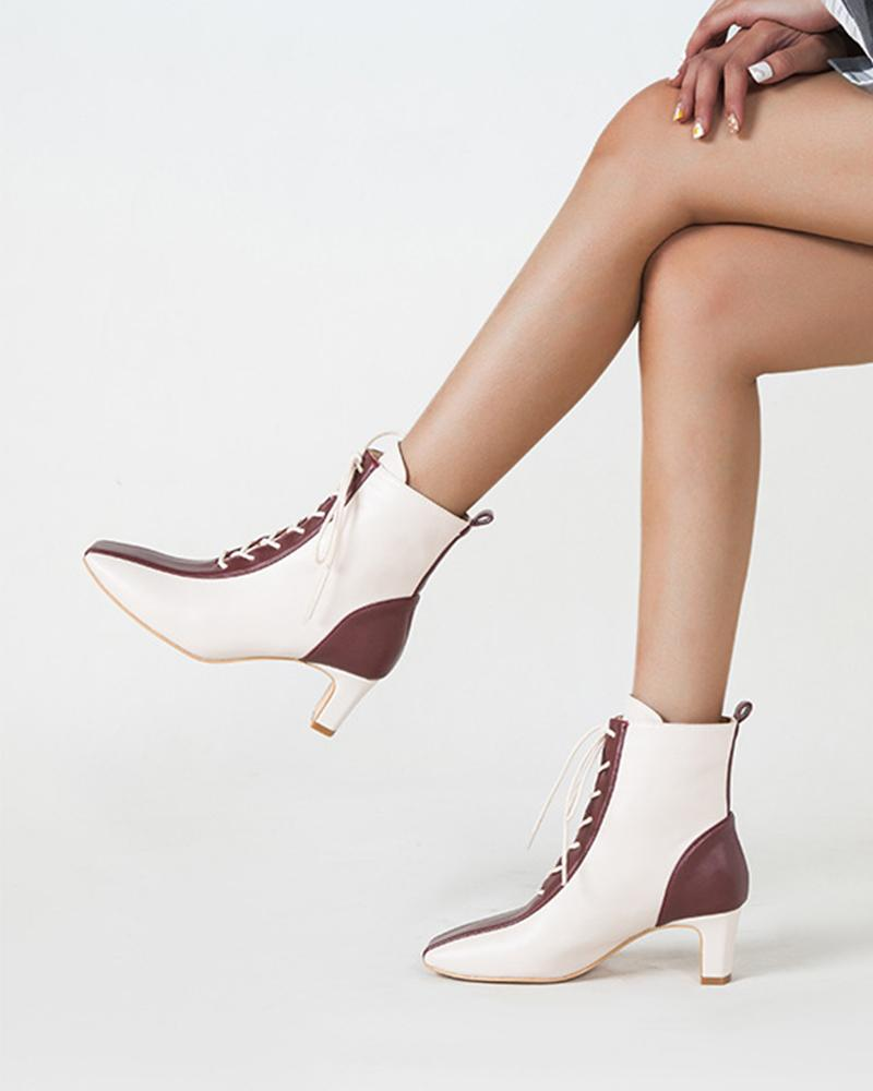 Color Block Lace-up High Heels Martin Boots